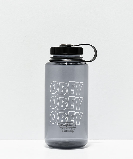 Obey Jumble Stacks Black & White Water Bottle