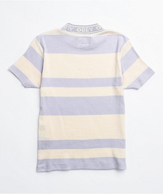 Obey Lavender Stripe Mock Neck Top