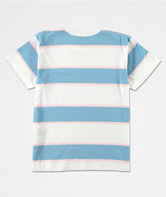 Obey Liz Box Blue & White Stripe T-Shirt