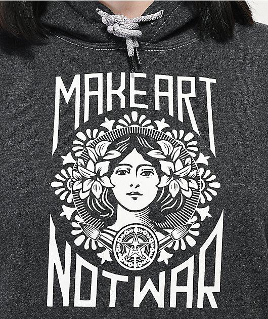 Obey Make Art Not War Black Tie Dye Sleeve Hoodie