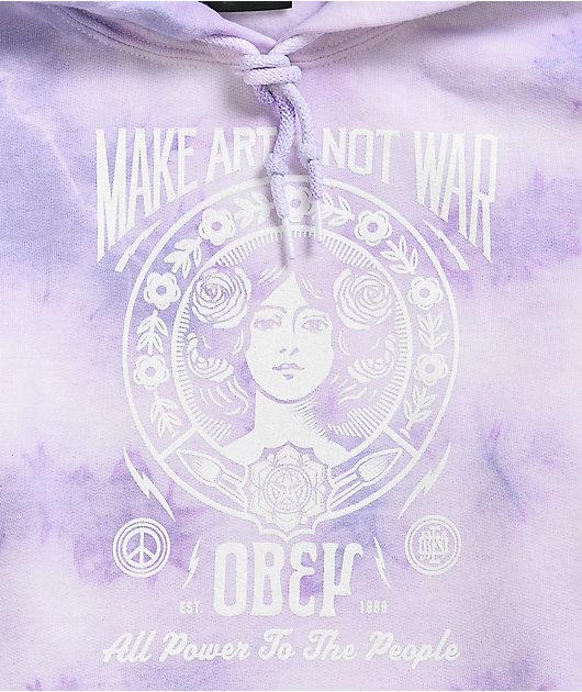 Obey Make Art Not War Lavender Tie Dye Hoodie