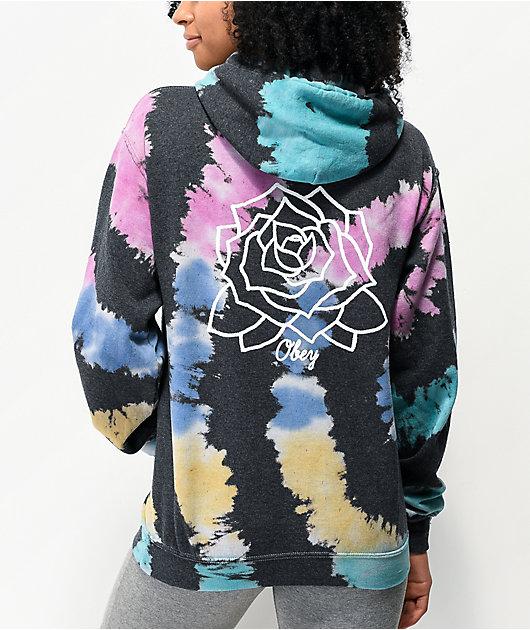 Obey Mira Rosa Black & Rainbow Tie Dye Hoodie