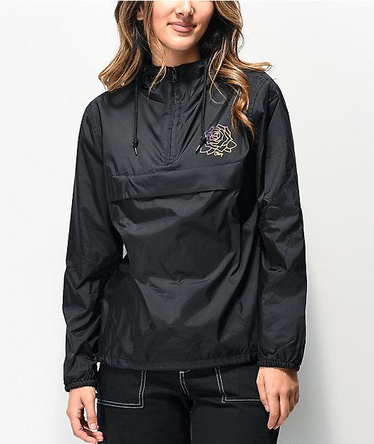 Obey Mira Rosa chaqueta anorak negra