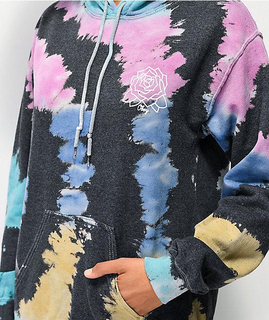 Obey Mira Rosa sudadera con capucha tie dye negra y arcoiris