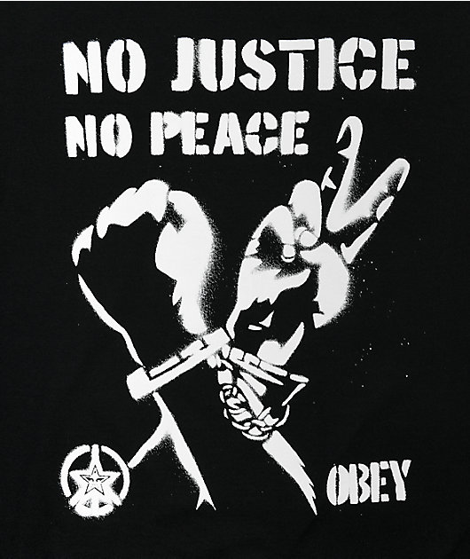 Obey No Justice No Peace Black T-Shirt