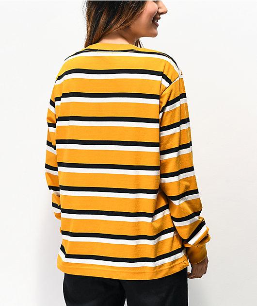 Obey Novel camiseta de manga larga dorada, negra y blanca de rayas