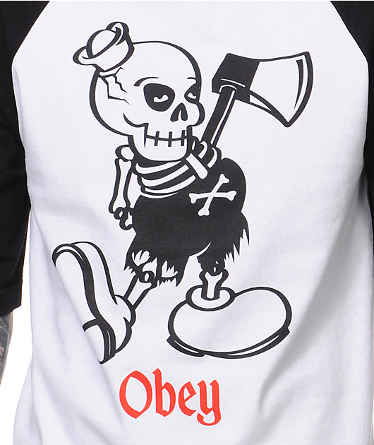 Obey Oh Boy Black & White Baseball T-Shirt