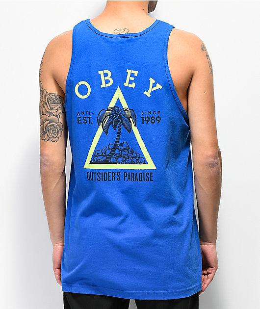 Obey Outsiders Paradise camiseta azul sin mangas
