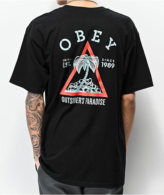 Obey Outsiders Paradise camiseta negra