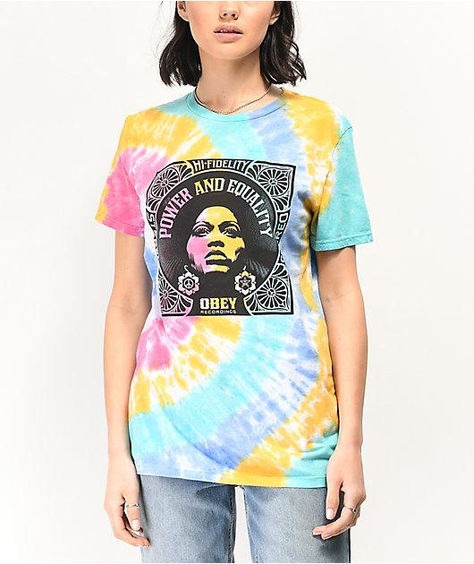 Obey Power Equality camiseta tie dye