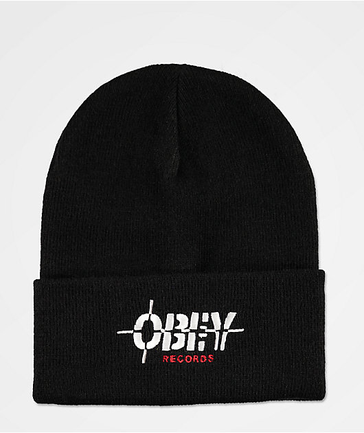Obey Records Black Beanie