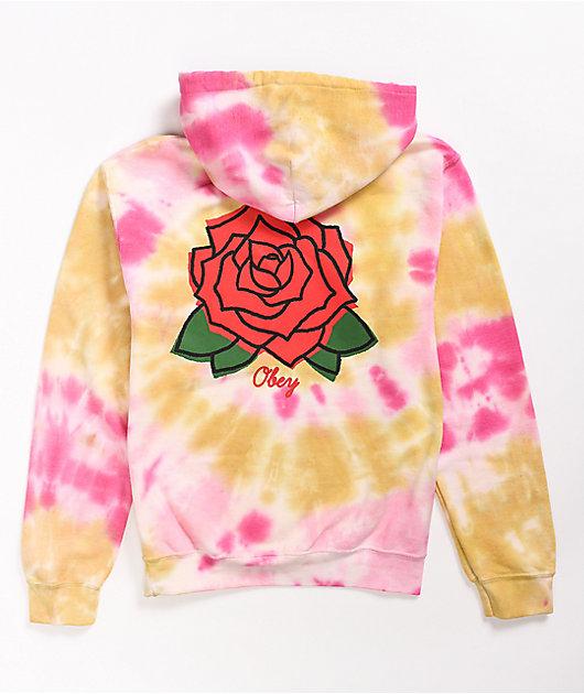 Obey Rose Pink & Yellow Tie Dye Hoodie