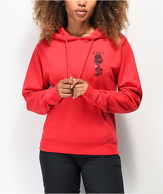 Obey Rose Shackle sudadera con capucha roja