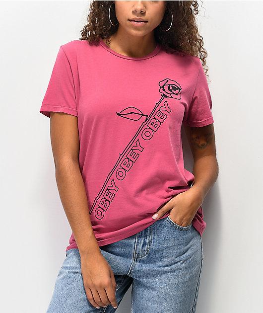 Obey Rose Stem Deep Rose T-Shirt