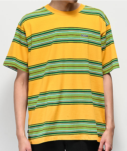 Obey Route Yellow & Green Striped T-Shirt