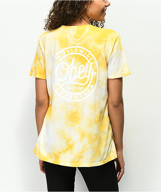 Obey Since 89 Class Yellow Tie Dye T-Shirt