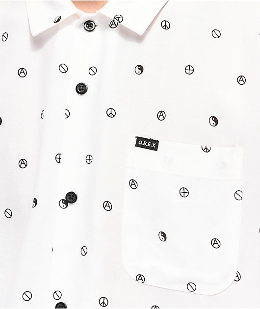 Obey Symbolism White Woven Short Sleeve Button Up Shirt
