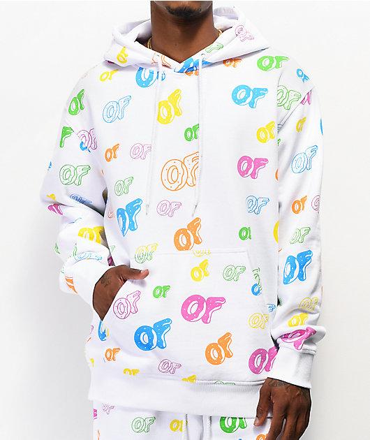 Odd Future Allover Logo White Hoodie