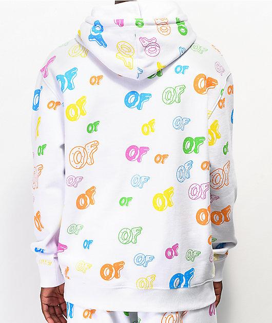 Odd Future Allover Logo sudadera con capucha blanca