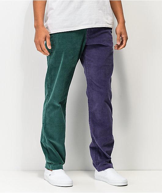 Odd Future Block pantalones de pana verde y morado
