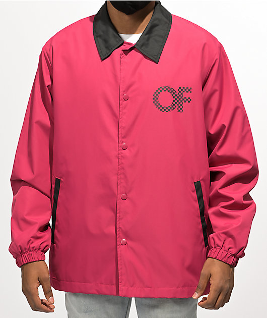Odd Future Checkered Logo Burgundy Coaches Jacket