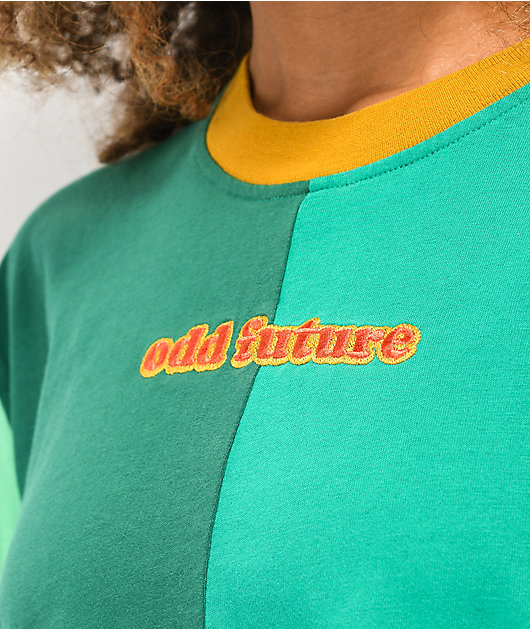 Odd Future Colorblock camiseta verde de manga larga