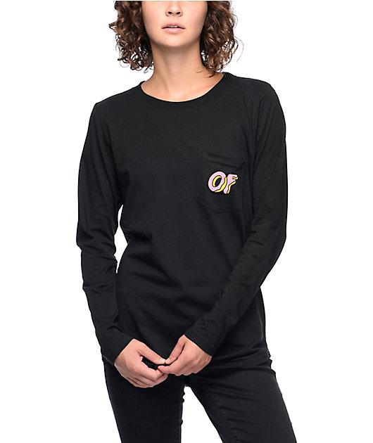 Odd Future Dual Logo Black & Pink Long Sleeve Pocket T-Shirt