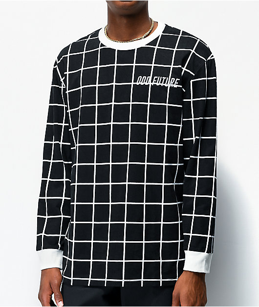Odd Future Grid Black Long Sleeve Knit T-Shirt