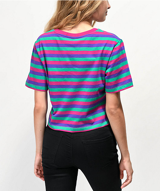 Odd Future Logo Pink, Purple & Green Stripe Crop T-Shirt