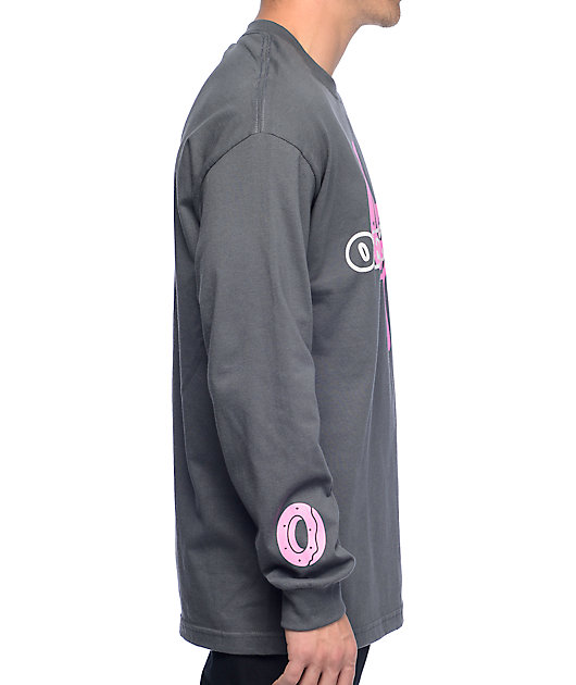 Odd Future Logo With Donut Charcoal Long Sleeve T-Shirt