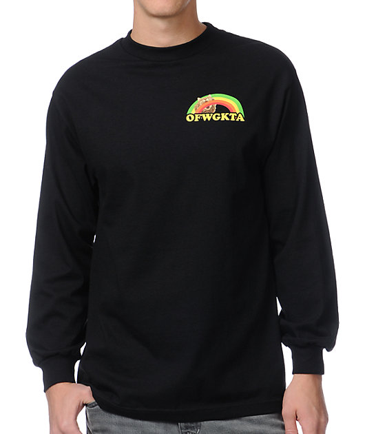 Odd Future Rainbow Cat Black Long Sleeve T-Shirt