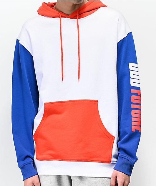 Odd Future Red, White & Blue Colorblock Moto Hoodie