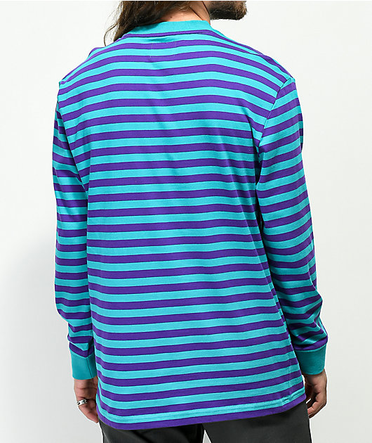 Odd Future Striped Teal & Purple Long Sleeve Shirt