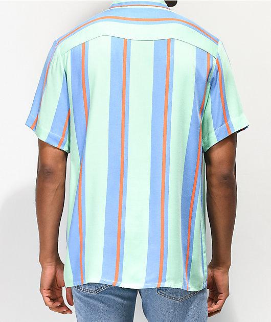 Odd Future Teal & Blue Vertical Striped Short Sleeve Button Up Shirt