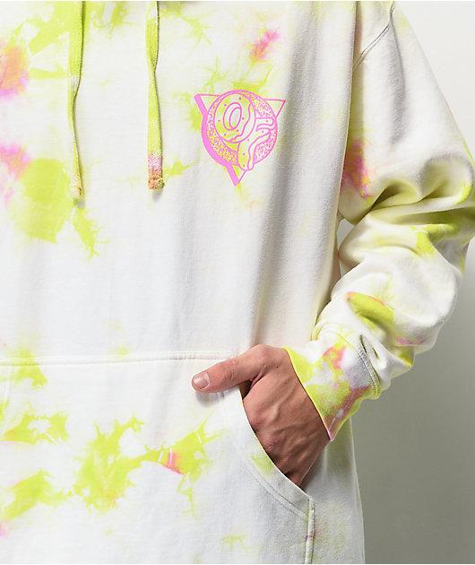 Odd Future White, Green & Pink Crystal Wash Hoodie