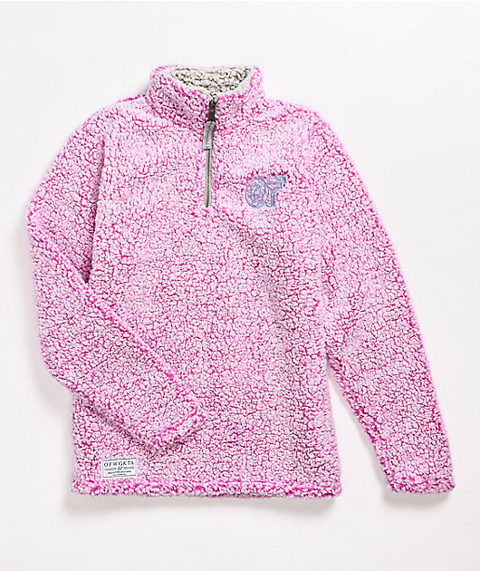 Odd Future Wubby Pink Quarter-Zip Fleece Jacket
