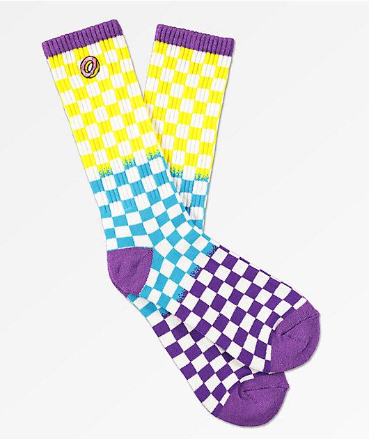 Odd Future Yellow, Blue & Purple Checkered Crew Socks