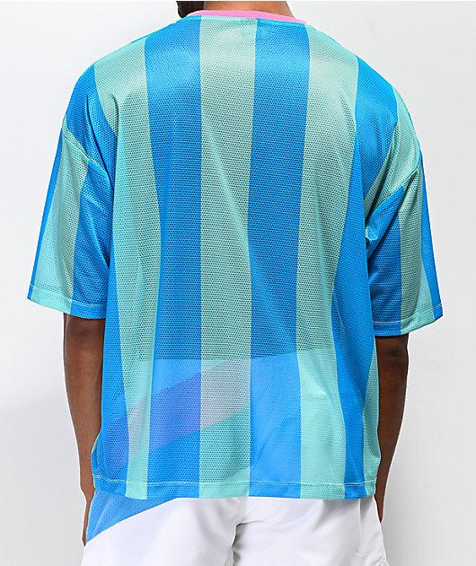 Odd Future camiseta de fútbol verde azul a rayas verticales