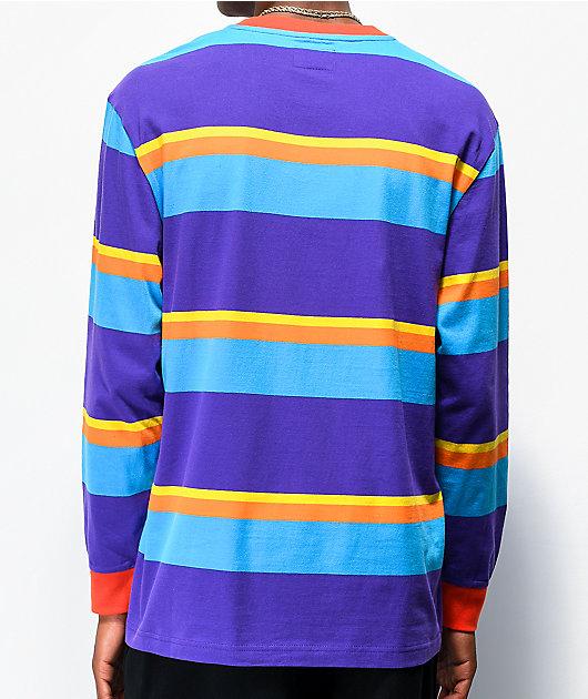 Odd Future camiseta morada de manga larga de rayas multicolor