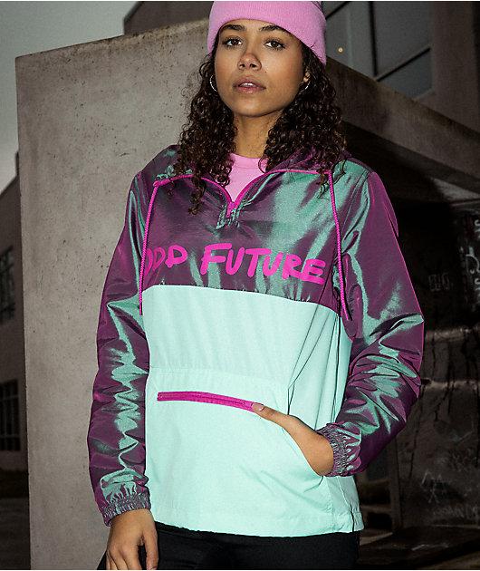 Odd Future chaqueta anorak cortavientos iridiscente morada y menta