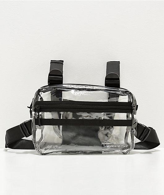 Official bolso de pecho translúcido con cuatro correas