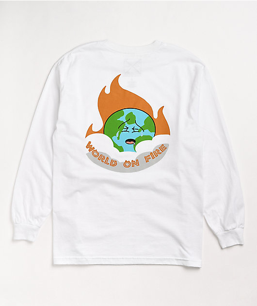 Old Friends World On Fire White Long Sleeve T-Shirt