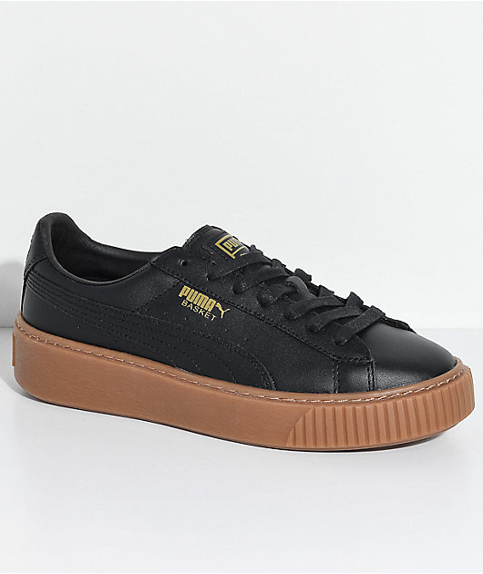 PUMA Basket Platform Black \u0026 Gum Shoes