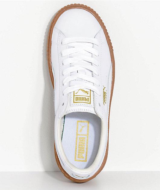 puma basket platform white gum