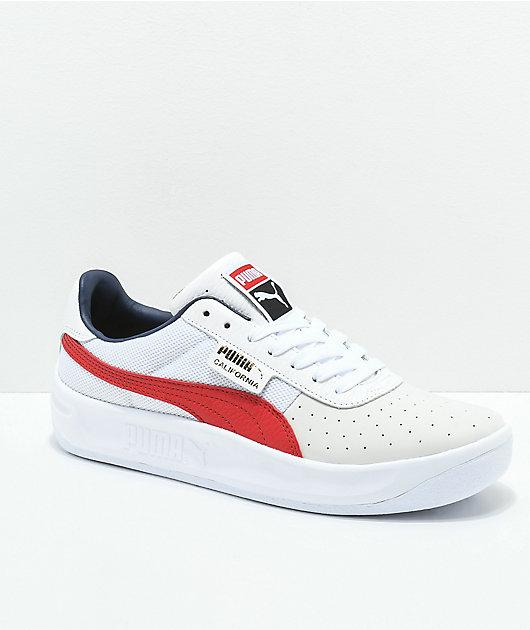 PUMA California Casual White & Red Shoes