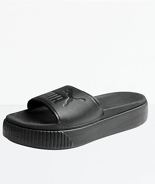black slide platform sandals