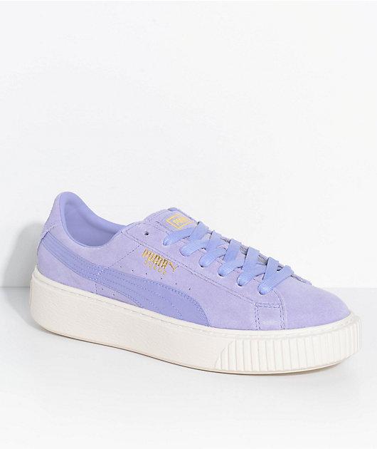 PUMA Suede Platform Mono Satin Lavender Shoes