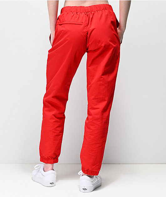 Petals By Petals & Peacocks Kindness Red Crinkle Track Pants