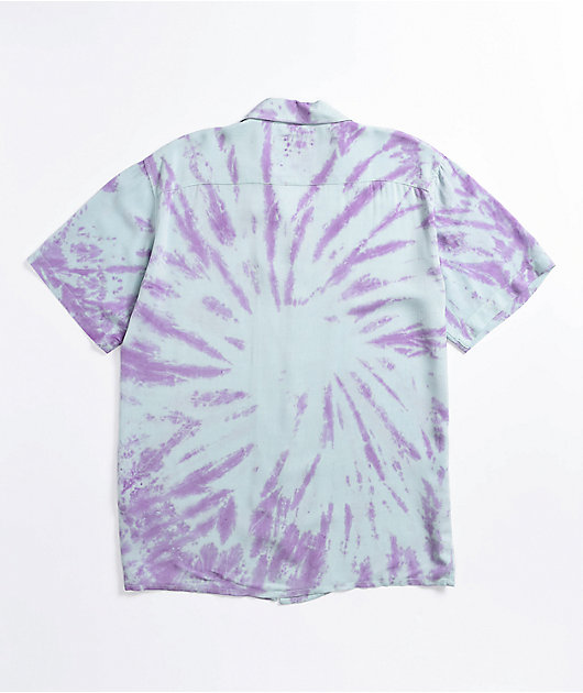 Petals and Peacocks Blue & Purple Tie Dye Short Sleeve Button Up Shirt