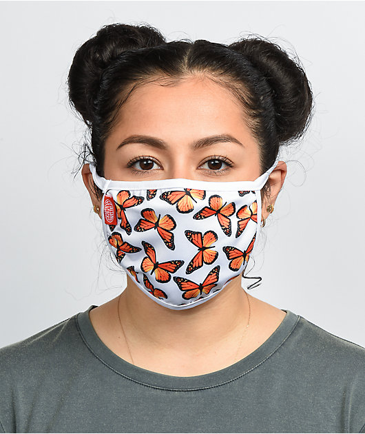 Petals and Peacocks Butterfly Face Mask
